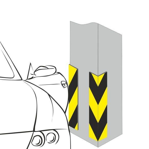 Угловой отбойник (мат) для защиты автомобиля. Толщина 38 мм. Размер 330х250 мм