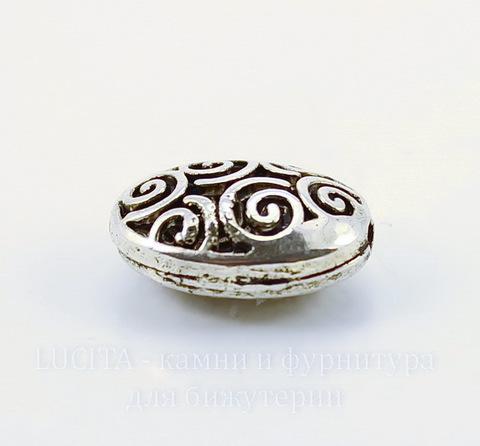 """Бусина металлическая овальная """"Спирали"""" 19х14 мм (цвет - античное серебро)"""