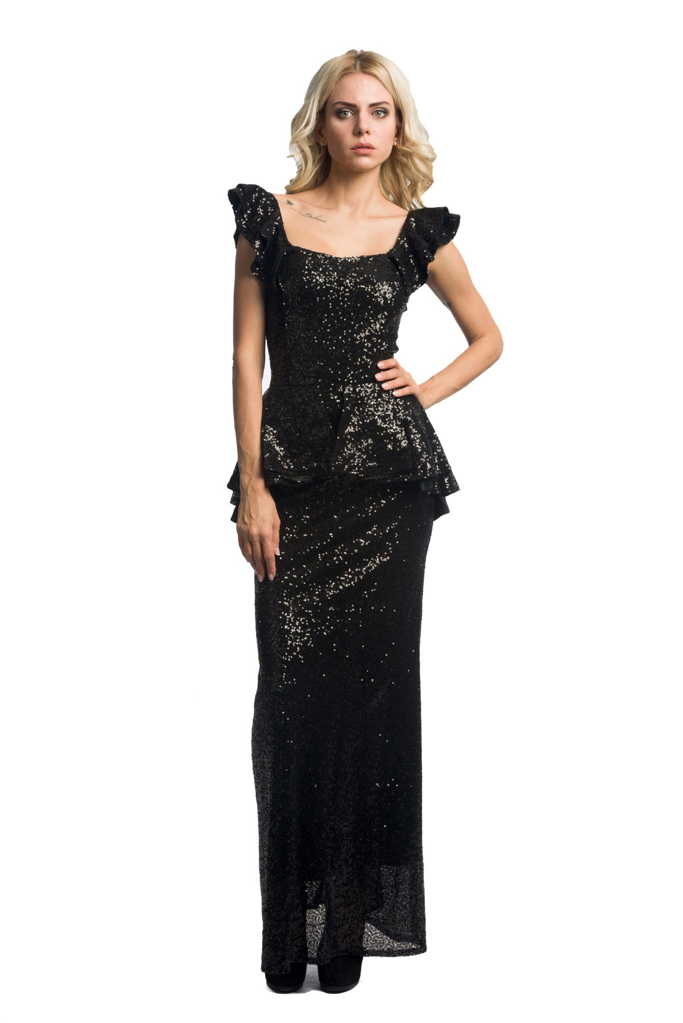 Платье длинное с баской