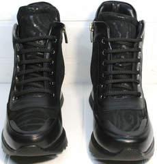 Сникерсы ботильоны со шнурками Evromoda 965 Black