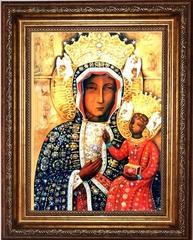 Ченстоховская икона Богородицы. Копия старинной иконы на холсте.