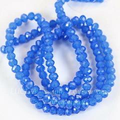 Бусина стеклянная, рондель с огранкой, цвет - опалово-синий, 4х3 мм, нить