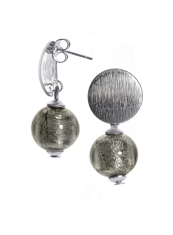 Серьги 2019 Perla Metallo Silver Rotondo Dark Diamond