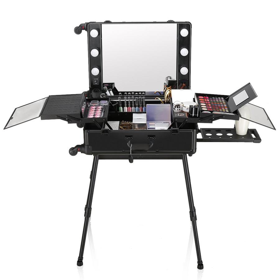 Бьюти кейс визажиста на колесиках (мобильная студия) LC004 Black фото