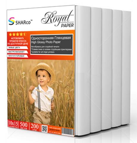 Фотобумага Sharco 10x15 см 200гр., односторонняя, глянцевая, 500л.