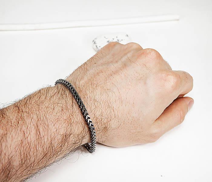 BM578 Тонкий браслет цепочка квадратного сечения фото 07