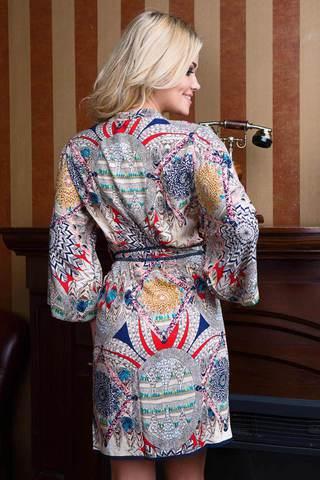 Пестрый свободный женский итальянский халат Mia-Mia на запахе из вискозы с этническим принтом средней длины вид сзади