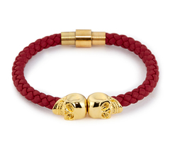 Браслет с черепом Northskull Deep Red Nappa Leather/ 18kt. Gold Twin Skull Bracelet из натуральной кожи
