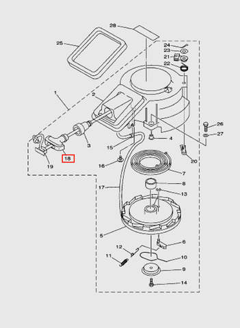 Ручка стартера  для лодочного мотора T15, OTH 9,9 SEA-PRO (7-18)