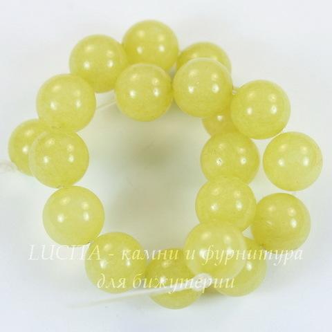 Бусина Перидот, шарик, цвет - лимонный, 10 мм, нить