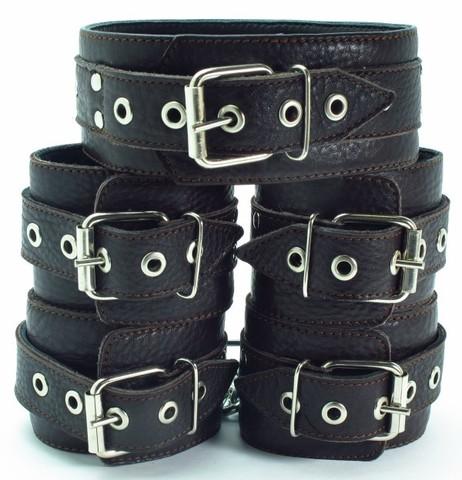 БДСМ фиксация - комплект: наручники, наножники и ошейник (BDSM арсенал)