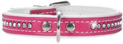 Ошейник для собак, Hunter Smart Modern Art Luxus, 37/13 (28-33,5 см), кожзам 1 ряд страз, ярко-розовый