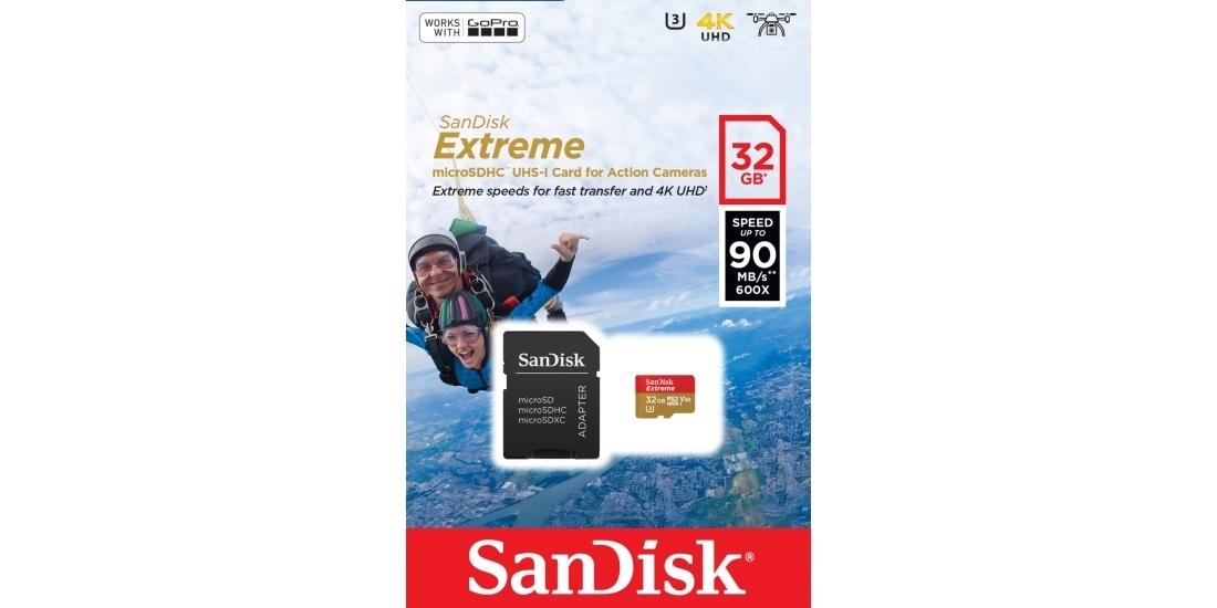 MicroSDHC 32GB SanDisk UHS-I U3 Extreme (SD адаптер) блистер