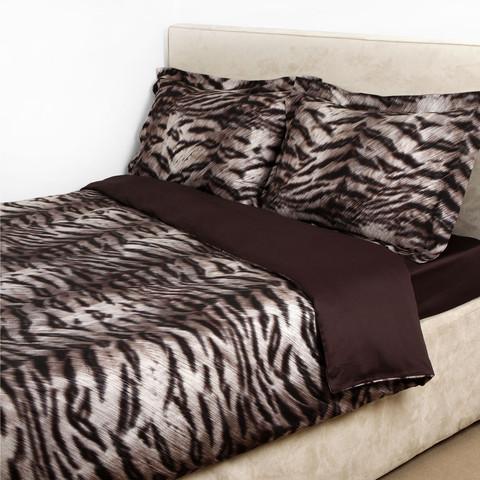 Постельное белье 2 спальное евро макси Roberto Cavalli Tigre коричневое