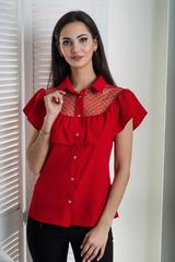 Лея. Современная стильная молодежная рубашка. Красный