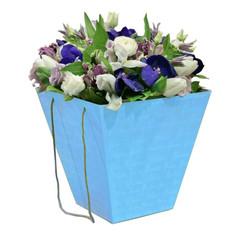 Коробка для цветов Синяя 12,5 х 18 х 22,5 см
