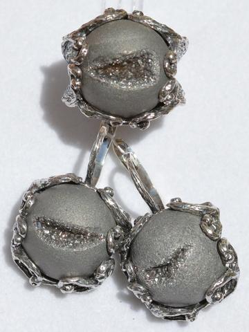 Затея-серая (кольцо + серьги из серебра)