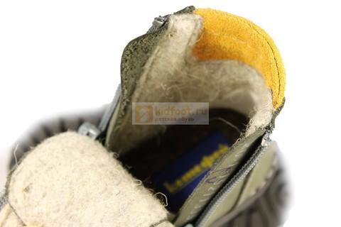 Демисезонные ботинки для мальчиков Котофей 152113-35 из натуральной кожи на молнии цвет серо-зеленый. Изображение 4 из 5.
