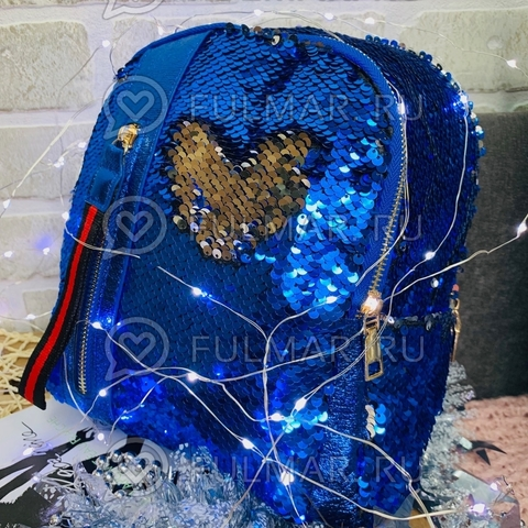 Рюкзак розовый с пайетками меняющий цвет Синий-Серебристый с молнией LOLA маленький
