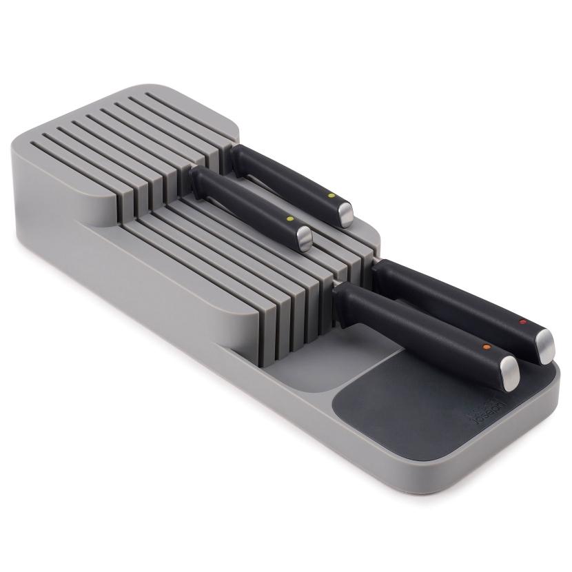 Органайзер-подставка в выдвижной ящик для хранения 9 кухонных ножей Joseph Joseph DrawerStore компактный серый