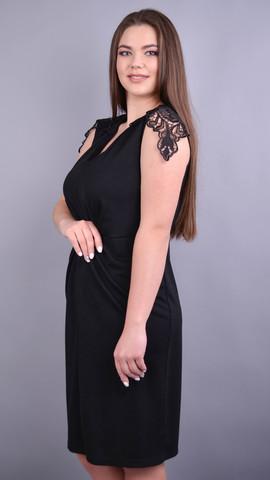 Ельміра. Стильна сукня для жінок плюс сайз. Чорний.