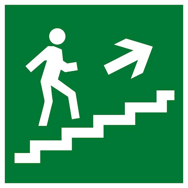 Эвакуационный знак Е15 - Направление к эвакуационному выходу по лестнице вверх направо