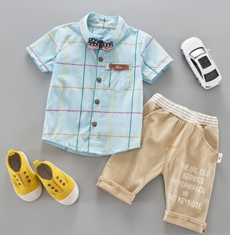 Комплект для мальчика рубашка+бриджи бирюзовый