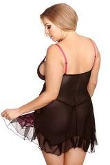 Черная прозрачная сорочка с розовыми вставками Gia (BS)