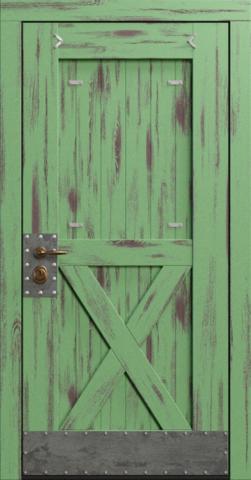 Входная дверь «Loft» в цвете, Эмаль зеленая (массив сосны)