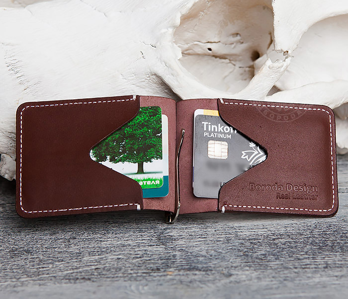 WL284-3 Мужской кожаный зажим для купюр ручной работы фото 06