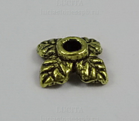 """Шапочка для бусины """"Листики"""" (цвет - античное золото) 8х2 мм, 10 штук ()"""