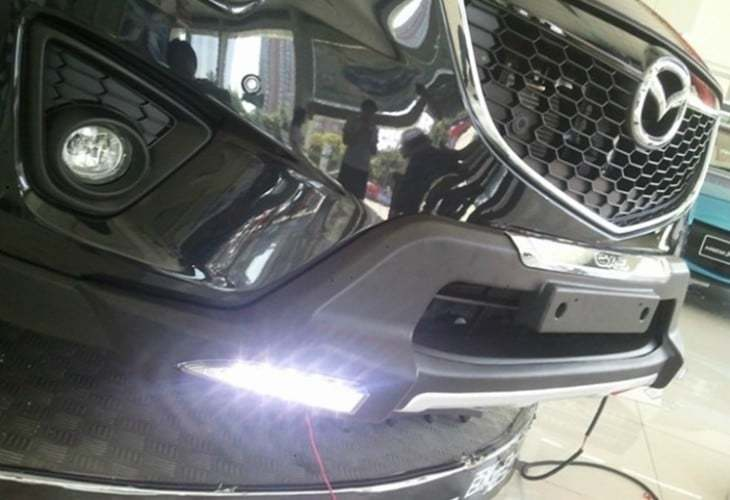 Накладка на передний бампер с LED подсветкой OEM-Tuning CNT35-CX5-001A для Mazda CX-5 (2015 - 2017) car styling for mazda cx 5 taillight assembly 2011 2015 cx5 led tail light new cx 5 led rear lamp drl brake with hid kit 2pcs