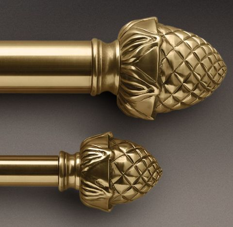 Classic Antique Brass Pineapple Finial & Rod Set - Antique Brass