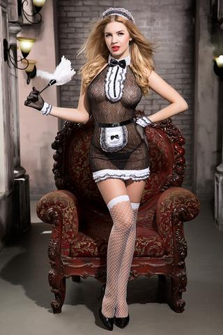 Костюм горничной Candy Girl Tiffany (комбинация, трусы, фартук, перчатки, чулки, головной убор, метелка), черно-белый, OS фото