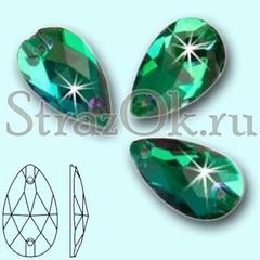 Стразы пришивные стеклянные Drope Emerald, Капля Эмеральд зеленый