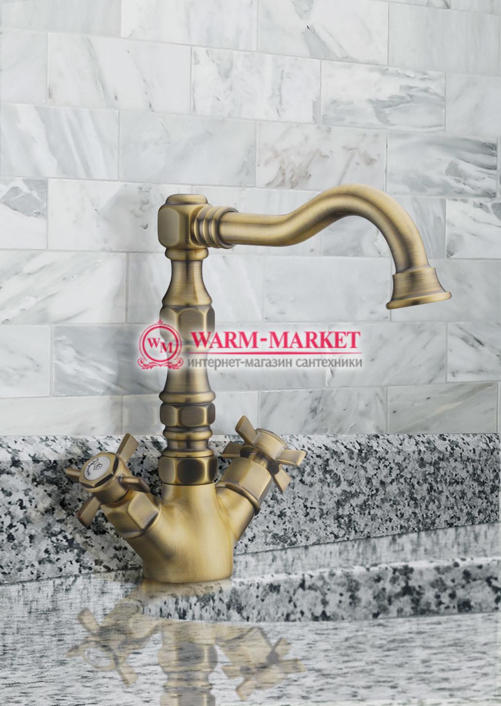 Elg Bronze 018 - бронзовый смеситель для раковины / умывальника двухвентильный