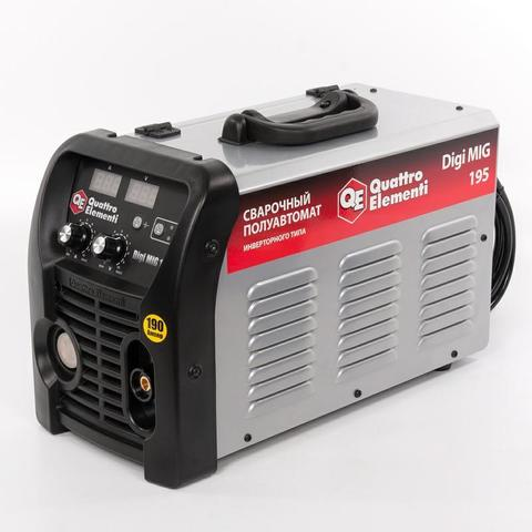 Аппарат полуавтомат. сварки, инвертор QUATTRO ELEMENTI Digi MIG 195 (190 А, ПВ 30%,проволока 0,6 - 1.0 мм,14.4кг,220В,EURO-разъем,дисплей)