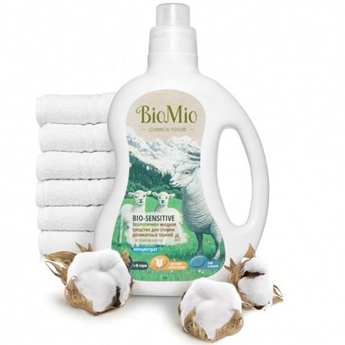 Жидкое средство для стирки деликатных тканей Bio-Sensitive, BioMio, без запаха, 1,5 л