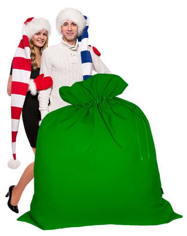 Огромный Мешок Деда Мороза зелёный