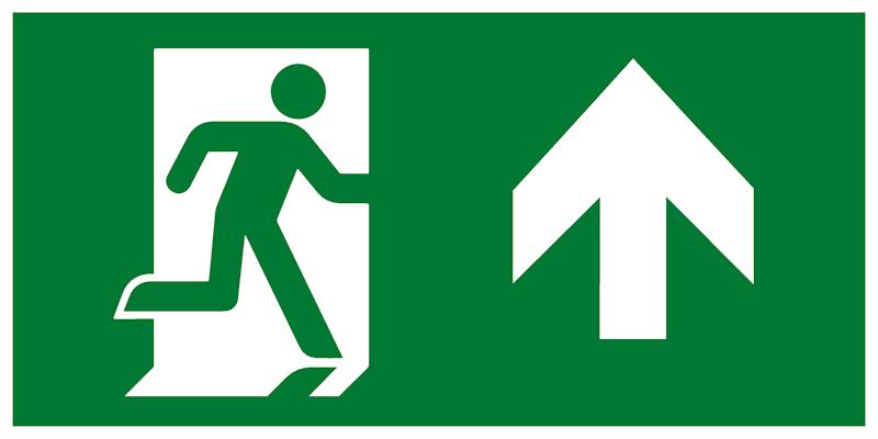 Современный комбинированный эвакуационный знак – Направление к эвакуационному выходу прямо