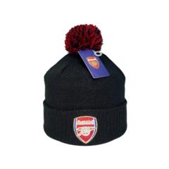 Вязаная шапка с помпоном и логотипом ФК Арсенал (Arsenal) черная