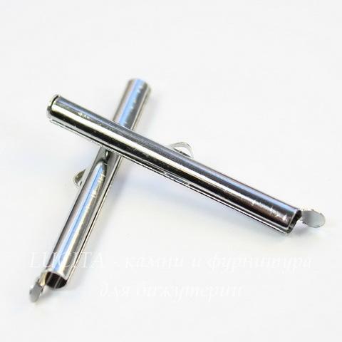 Концевик - трубочка 40х4 мм (цвет - платина), 2 штуки