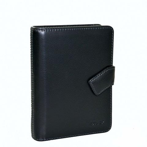Органайзер записная книжка блокнот чёрный формат А6 из натуральной кожи со сменными блоками отделениями для визиток и авторучки GALIB 8М241