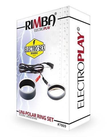 Силиконовые электро-кольца для пениса, монополярные - Rimba Electro Set Silicone Cock Rings. Uni Polar. Flat