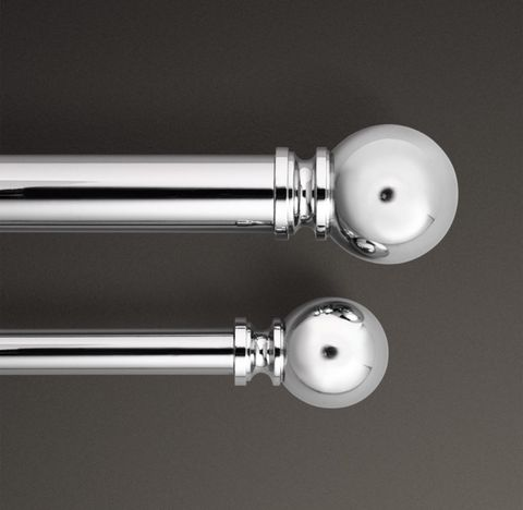 Classic Ball Finial & Rod Set - Polished Nickel