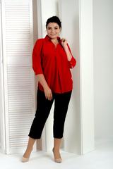 Айрис. Женская блузка больших размеров. Красный