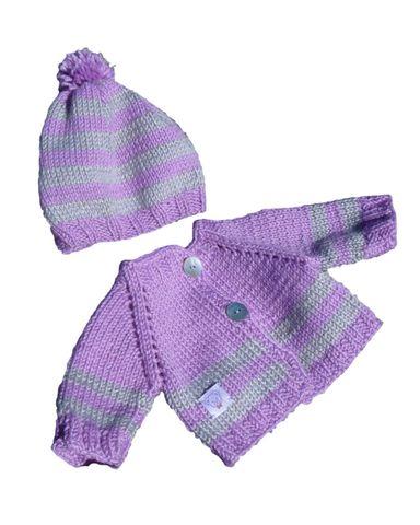 Вязаный жакет и шапочка с помпоном - Сиреневый. Одежда для кукол, пупсов и мягких игрушек.