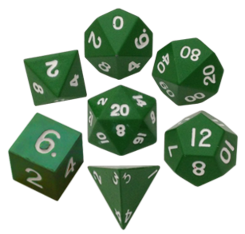 Набор зеленых разногранных металлических кубиков