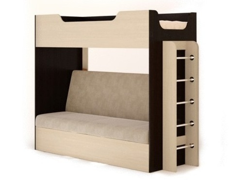 Кровать двухъярусная  КР-11 с диваном венге / дуб белёный