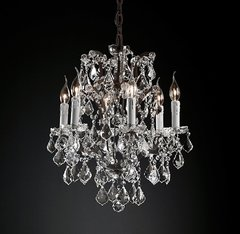 19th C. Rococo Iron & Clear Crystal Round Chandelier 18